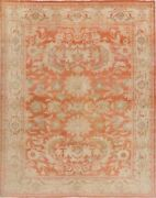 Antique Floral Vegetable Dye Oriental Oushak Turkish Wool Hand-knotted 8x10 Ft