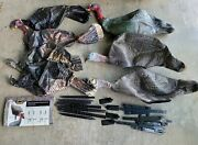 Lot 7 Hunting Decoys Flambeau Breeding Flock And Sceery Inflatable Turkeys Stands