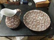 Crownford China Staffordshire England Brown Calico 128 Oz Pitcher And Wash Basin