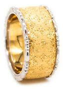 Buccellati Milano 18 Kt Yellow And White Brushed Gold 10.4 Mm Ring Band Brand New