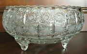 Bohemian Czech Crystal 12 Footed Bowl Hand Cut Queen Lace 24 Lead Glass