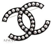 Black And Silver Studs Large Coco Mark Vintage Brooch Auth 0501