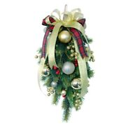 50xchristmas Swag Teardrop Door Artificial Pine Needles With Red Berry For