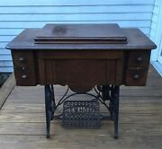 Antique 1906 New Home Treadle Sewing Cabinet Mahogany W/ Cast Iron Base Exc Cond