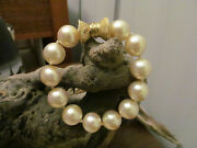 Vintage Rare Honora 14k Gold Faux Pearl Beads Beaded Knotted Bracelet 7 1/4