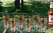 6 Vintage Culver Black And Gold Highball Glasses, Culver, 1940's, Whiskey Glasses