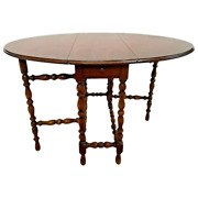 Antique Imperial Gate Leg Table Drop Side Leaf Oval With Long Center Drawer