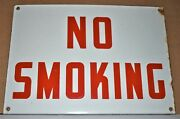 Vintage No Smoking Porcelain 14 X 10 Red On White Sign Excellent Condition