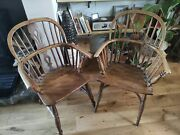 Quality Elm And Ash Broad Arm Antique Windsor Chairs