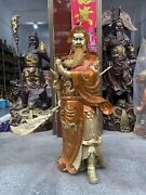 39and039and039 Brass Copper Home Feng Shui Hold Broadsword Fortune Dragon Guan Gong Statue