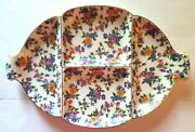 Vintage Warwick Cheery Chintz Germany Floral Divided Plate Art Pottery