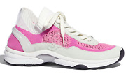 20s White Pink Fabric Cc Logo Lace Up Flat Runner Trainer Sneaker 37.5