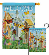 Welcome Butterfly Houses Garden Flag Bugs And Frogs Friends Yard House Banner