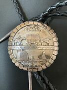 Collectible Vintage Navajo Horse Sterling Silver Bolo Old Pawn Signed 02019