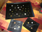 Vintage Mcm Abstract Couroc Of Monterey Inlaid World Coins Serving Tray Set