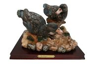 De Capoli Collection Two Ducks On Driftwood And Rocks Resin Figurine 7 Tall