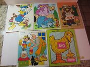 Vintage Wooden Puzzle Lot Of 5-playskool And Fisher Price-disney-complete