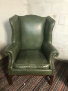 Antique Green Leather Wing Chair