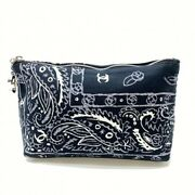 Coco Mark Paisley Cotton Pouch Makeup Bag Purse Navy System Ladies Mm