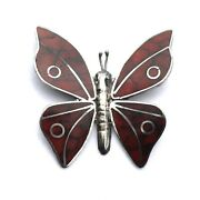 Vintage Sterling Silver Mexico Red Enamel Butterfly Brooch With Eagle Stamp