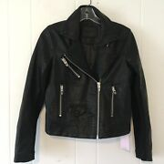 Blank Nyc Women Xs Moto Jacket Faux Leather Black Short Length Knit Arms New