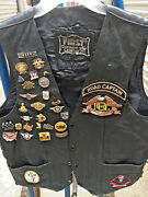 Harley Davidson Leather Biker Vest With Pins And Patches Menand039s 42