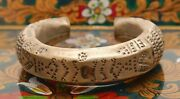Antique Chinese Asian Wedding Cuff Bracelet Hand Made Hollow Chased Brass Copper