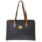 Authentic Christian Dior Logo Shoulder Tote Bag Pvc Leather Brown France 61mh681