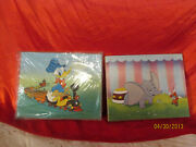 2 Vintage Disney Pressed Board Prints Donals Duck On Train And Dumbo Sealed Nip