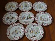 Vintage 8 Dessert Plates French Faience Majolica Sarreguemines 1900s Froment