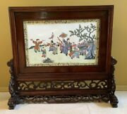 Antique Chinese Wood Hand Carved Inlay Exquisite Pattern Screen