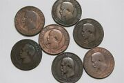 France 10 Centimes 1856/1861 - 7 Coins Different Mints B34 Ee19