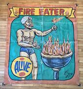 Vintage Mark Frierson Fire Eater Breather Sideshow Banner Circus Carnival Freak
