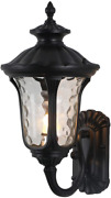 Outdoor Wall Light Black Aluminum Finish With Clear Hammered Glass, Scroll Ip65