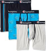 Champion Cotton Boxer Briefs 3 Pack Navy/gray/blue Hollow C Logo Menand039s Large