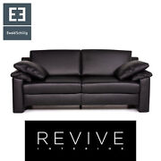 Ewald Schillig Concept Plus Leather Sofa Black Two Seater Couch 14406