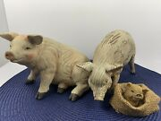 2 Resin Pigs Carved Wood Look And One Baby Resin Pig. So Cute