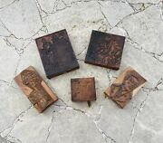 Vintage 1927 Schaffner And Marx Copper On Wood Stamp Printing Press Block Lot Of 5