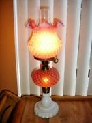 Fenton L.g. Wrighte Cranberry Satin Glass Coin Dot Honeycomb Lamp Gwtw