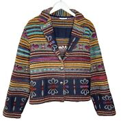 Bagatelle Vintage Hippie Floral Woven Women's Button Up Tapestry Jacket, Large