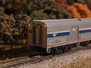 Custom Kato N Scale Amtrak Baggage 1221 Interior Lighted And Markers 156-0953