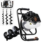 Pumplus Gas Powered 52cc Post Hole Digger 4andldquo+ 6+8 Earth Auger Drill Bits For F
