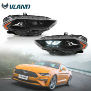 For 2018-2021 Ford Mustang Pair Led Drl Projector Headlights Lamps Black New