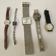Wrist Watch Lot For Sale 10 Watches Need Batteries Timex Swanson And More