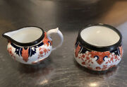 Royal Crown Derby 2412 Open Creamer And Sugar Bowl Trimmed With Silver C. 1905