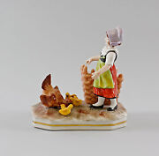 9997034 Porcelain Figurine Girl With Chickens Ernst Bohne 5 1/2x5 7/8in