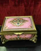 Antique 19th.century Jewelry Box French Enameled With Turquoise And Opal Stones