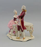 9959480 Porcelain Figurine Rococo Pair At Piano Ens 9 3/8x6 5/16x9 13/16in