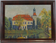 8660033 Oil Painting Signed Alfred Scotland Castle Garden Park Gotha