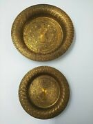 Vintage German Brass Trays Etched Geometric Design Ash Tray Coin Dish Lot Of 2